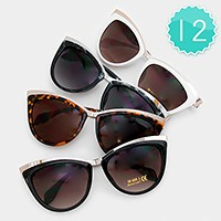 12 Pairs - Metal cat eye frame sunglasses