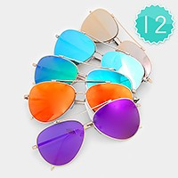 12 Pairs - Mirror Aviator Sunglasses