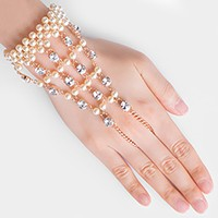 Pearl & crystal hand chain bracelet