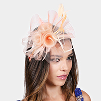 Feather flower mesh birdcage veil fascinator