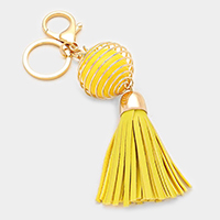 Faux leather tassel & coiled chunky bead keychain