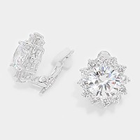 Crystal cubic zirconia CZ rosette clip on earrings
