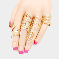 5PCS Filigree Metal Leaf Feather Rings