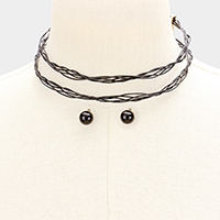 Double layer twisted metal wire choker necklace