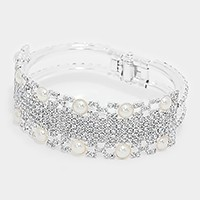 Hinged crystal rhinestone pearl evening bracelet