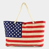 American flag canvas tote beach bag