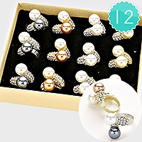 12 PCS - Double Pearl Adjustable Ring Box
