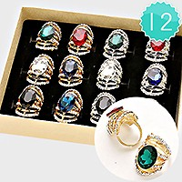 12 PCS - OVAL Crystal Adjustable Ring Box