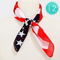 12 PCS - American flag square cotton scarves
