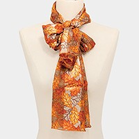 Silk feel leaf print scarf