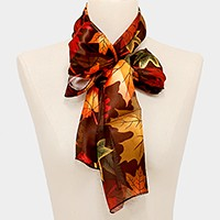 Silk feel maple leaf print scarf