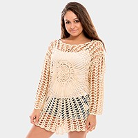 Cotton crochet mesh long sleeve tunic