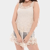 Cotton crochet & mesh sleeveless tunic