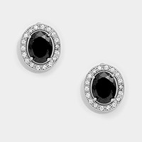 Oval crystal cubic zirconia CZ stud earrings