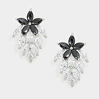 Crystal cubic zirconia CZ flower stud earrings