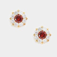 Crystal cubic zirconia CZ rosette stud earrings