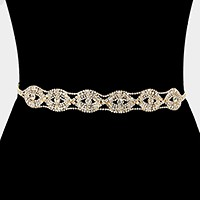 Crystal rhinestone sash ribbon bridal wedding belt / headband
