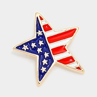 Enamel American flag star brooch