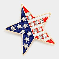 Crystal enamel American flag star brooch