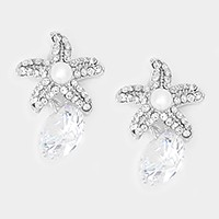 Crystal cubic zirconia CZ drop starfish earrings