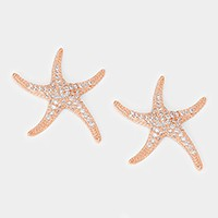 Crystal cubic zirconia CZ starfish stud earrings