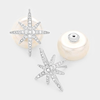Double sided crystal cubic zirconia long star pearl stud earrings