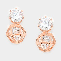 Double crystal cubic zirconia CZ earrings