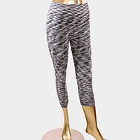 CRUMPLE DETAIL STRIPE CAPRI LEGGINGS