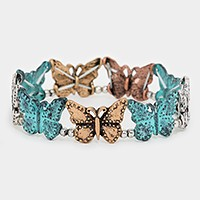 Metal butterfly stretch bracelet
