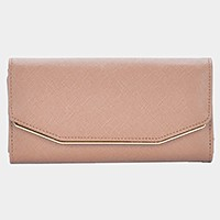 Faux leather tri-fold long wallet