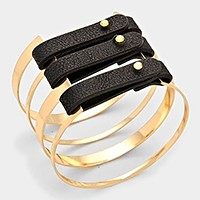 Triple faux leather banded metal cage cuff bracelet