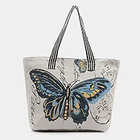 Butterfly print zip tote shoulder linen beach bag