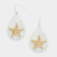 Two tone metal starfish teardrop earrings
