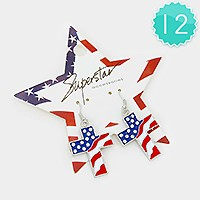 12 PCS - CRYSTAL ACCENTED AMERICAN FLAG CROSS DANGLE EARRINGS