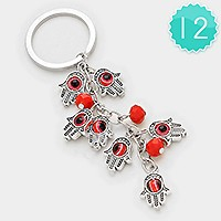 12 PCS - Evil eye hamsa hand cluster key chains