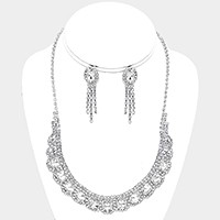 Oval crystal rhinestone collar necklace