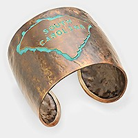 South Carolina State Map Hammered Wide Metal Cuff Bracelet
