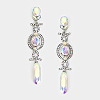 Long crystal rhinestone dangle evening earrings