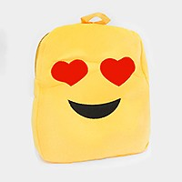 LOVE HEART EYES EMOJI PLUSH KIDS BACKPACK
