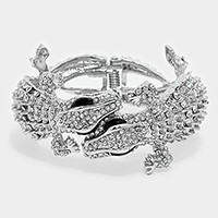 Hinged Crystal Rhinestone Alligator Evening Bracelet