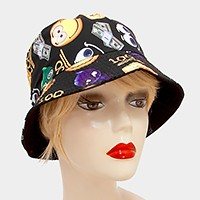 Emoji 100 print cotton bucket hat
