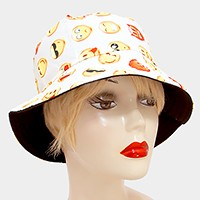 Emoji print cotton bucket hat