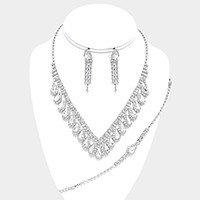 3-PCS Crystal Rhinestone Teardrop Cluster Necklace Jewelry Set