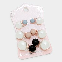 3 Pairs - Double sided pearl & resin stud earrings