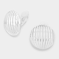 Round metal shell clip on earrings