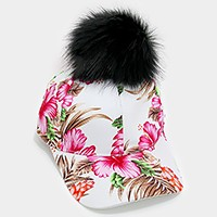 Tropical flower print pom pom baseball cap