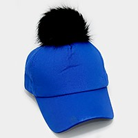 Detachable pom pom baseball cap