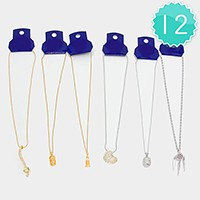 12 PCS - Mixed crystal pendant necklaces