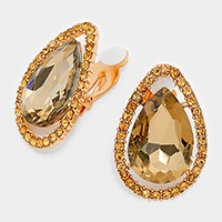 Crystal Teardrop Accented Rhinestone Trim Clip on Earrings