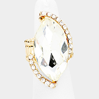 Marquise crystal rhinestone stretch cocktail ring
